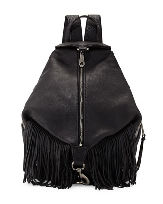 Julian Fringe-Trim Backpack, Black
