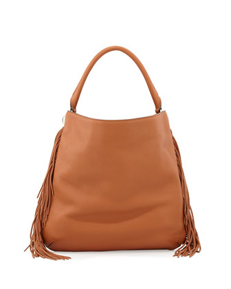 Clark Fringe Hobo Bag, Brown