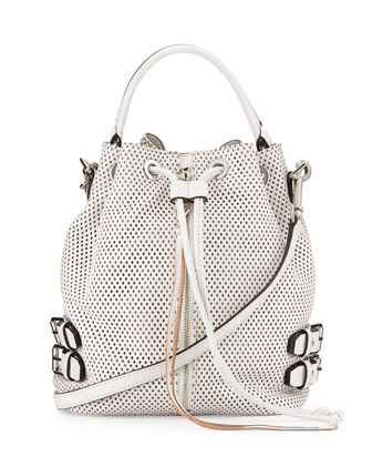 Moto Perforated Leather Bucket Bag, White