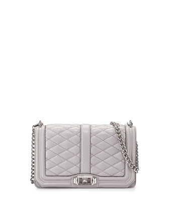 Love Quilted Crossbody Bag, Gray