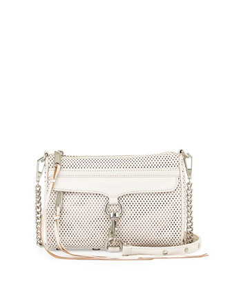 Perforated Mini M.A.C. Crossbody Bag, White
