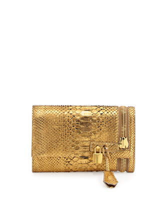 Alix Python Zip & Padlock Crossbody Bag, Gold