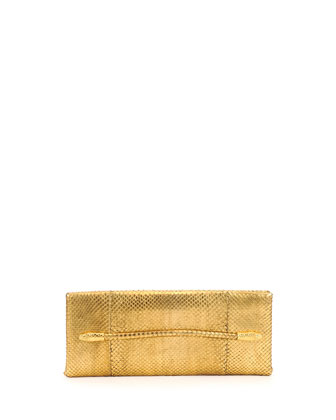 Metallic Python Serpent Bar Clutch Bag, Gold