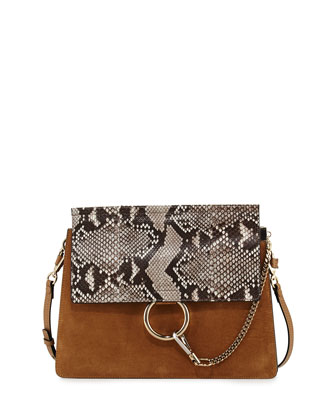 Fay Python Flap Shoulder Bag, Beige