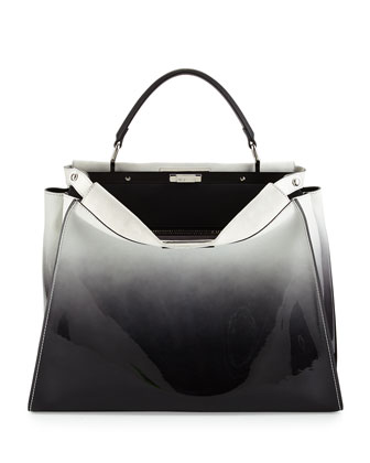 Peekaboo Large Ombre Patent Satchel Bag, Black/White