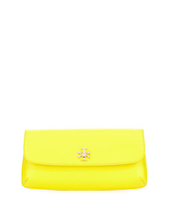 Diana Flap Clutch Bag, Reptile Yellow