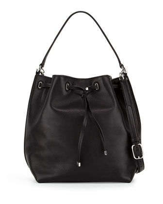 Toggle Drawstring Bucket Bag, Black