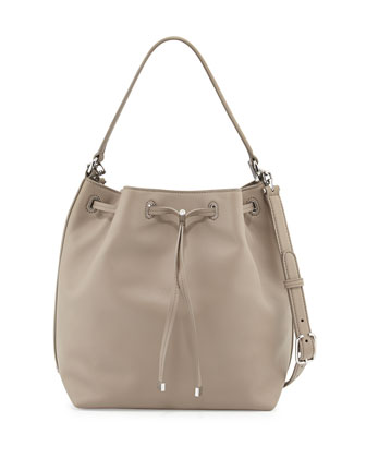 Toggle Drawstring Leather Bucket Bag, French Gray