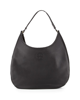 Marion Leather Hobo Bag, Black