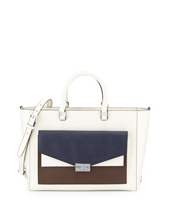 T-Lock Colorblock East-West Tote Bag, Ivory/Navy/Raisin