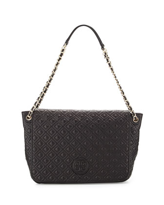 Marion Quilted Shoulder Bag, Black