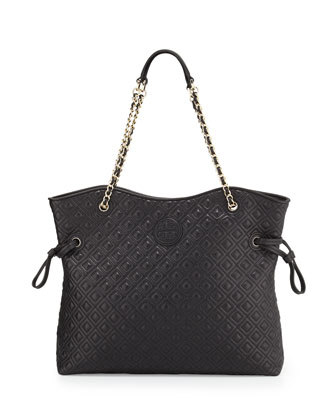 Marion Quilted Slouchy Tote, Black