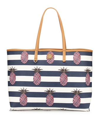 Kerrington Square Shopper Tote, Pineapple Stripe