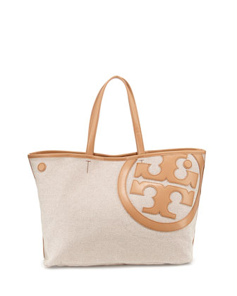 Lonnie Canvas Tote Bag, Natural Vachetta