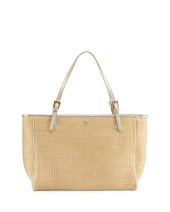 York Buckled Straw Tote Bag
