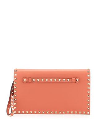 Rockstud Flap Wristlet Clutch Bag, Coral