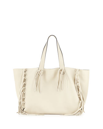 C-Rockee Fringe Leather Tote Bag, Ivory