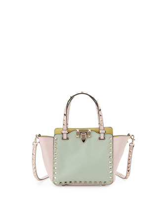 Rockstud Mini Tote Bag, Watercolor Multi