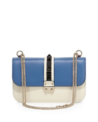 Rockstud Medium Colorblock Flap Shoulder Bag, Ivory Multi