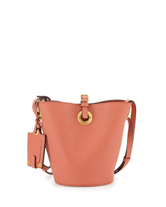 Eye on You Vitello Bucket Bag, Coral