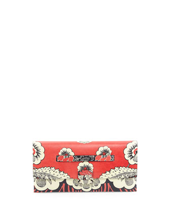 Floral-Print Covered Clutch Bag, Red Multi