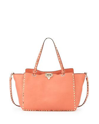 Rockstud Classic Tote Bag, Coral
