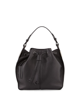 Lida Leather Bucket Bag, Black