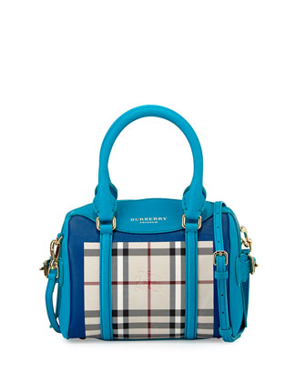 Leather & Check Mini Duffel Bag, Bright Turquoise