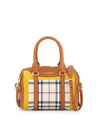 Leather & Check Mini Duffel Bag, Bright Toffee