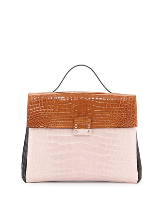 Tricolor Crocodile Satchel Bag, Pink/Brown/Black
