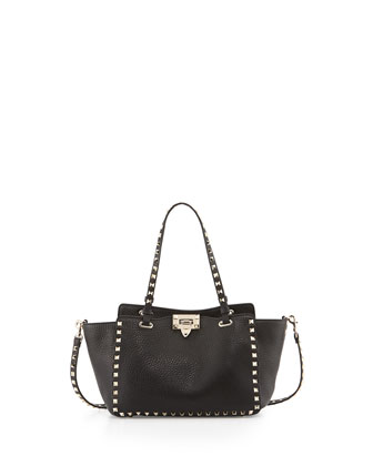 Rockstud Small Tote, Black