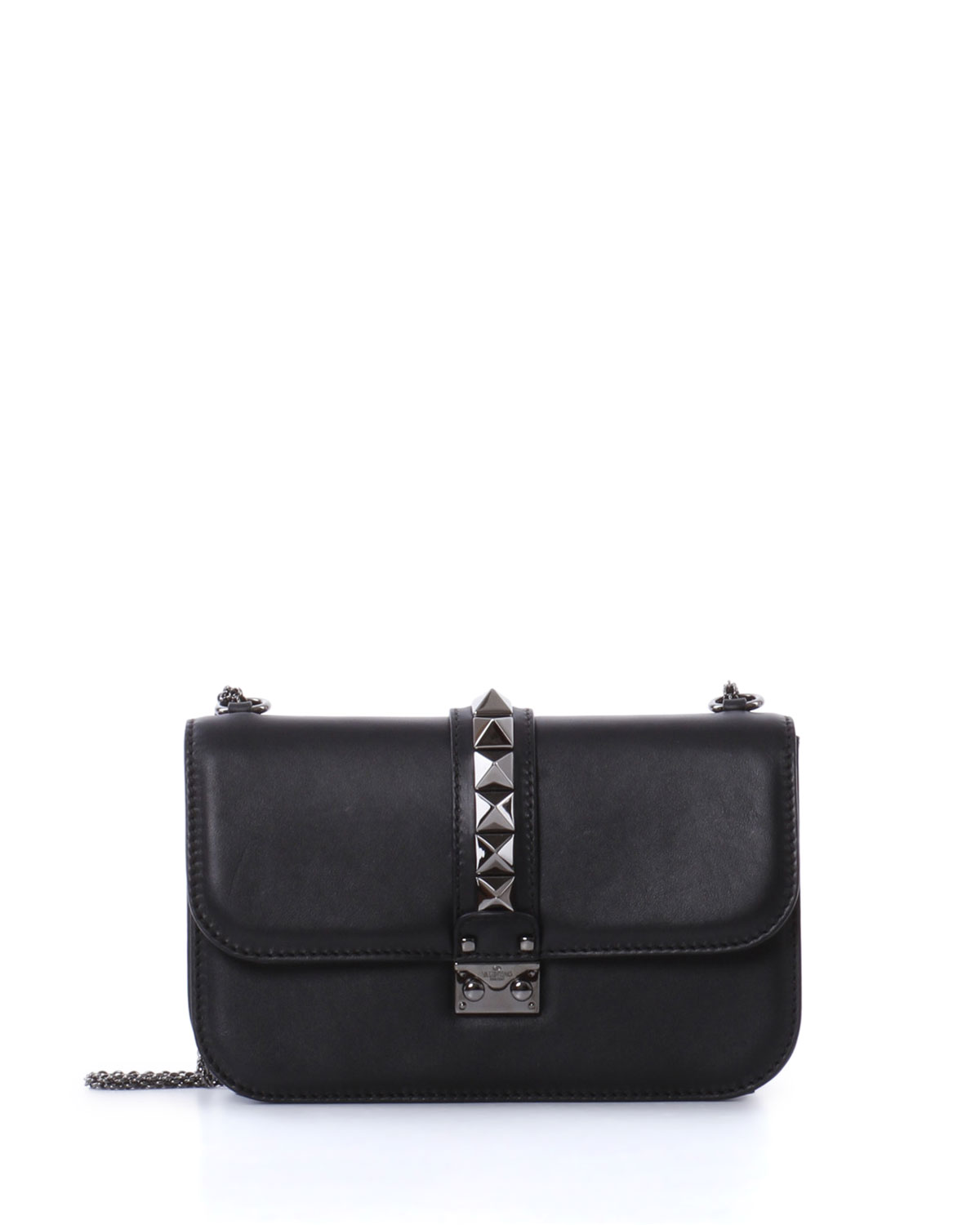 Medium Lock Shoulder Bag, Black - Valentino