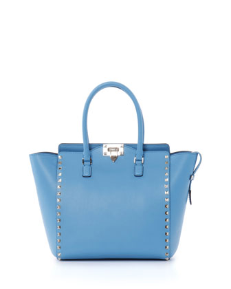 Rockstud Pagoda Shopper Tote Bag, Parrot Blue