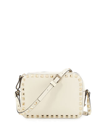 Rockstud Camera Crossbody Bag, Ivory