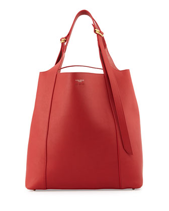 Faust Large Leather Bucket Bag, Red