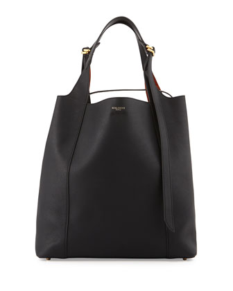 Faust Large Leather Bucket Bag, Black