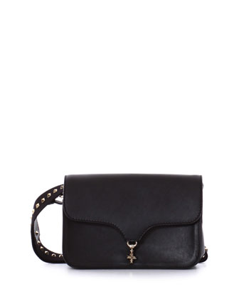Rockstud-Trim Medium Shoulder Bag, Black