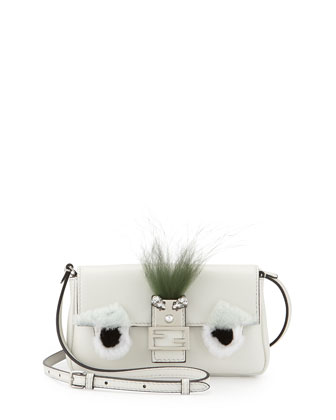 Micro Monster Shoulder Bag, White/Black