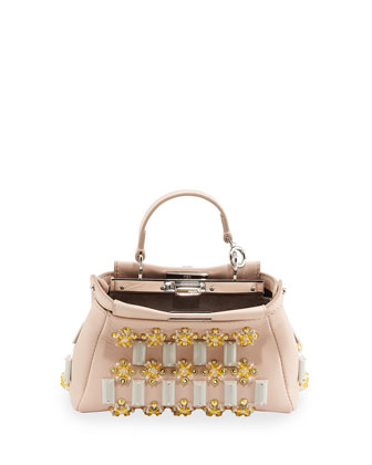 Micro Peekaboo Satchel Bag, Light Pink