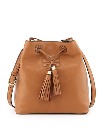 Thea Drawstring Bucket Bag, Bark