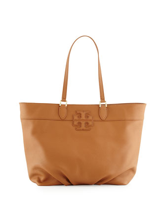 Leather Stacked-T Logo Tote Bag, Bark