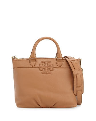 Stacked-T Small Satchel Bag, Bark