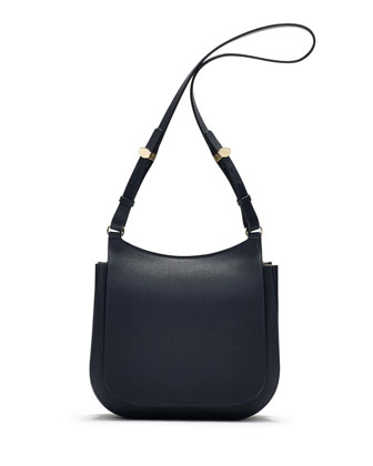 Hunting 11 Leather Shoulder Bag, Navy