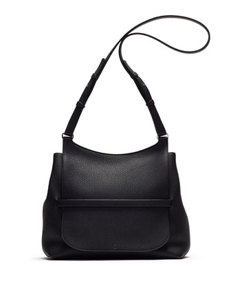 Sideby Pebbled Calfskin Shoulder Bag, Black