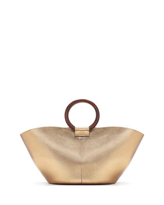Metallic Leather Market Bag, Gold