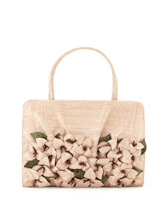 Large Crocodile Flower Satchel Bag, Pearl