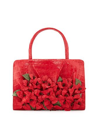 Large Crocodile Flower Satchel Bag, Red