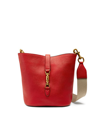 Jackie Soft Leather Bucket Bag, Red