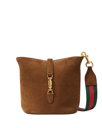 Jackie Soft Suede Ombre Bucket Bag, Brown