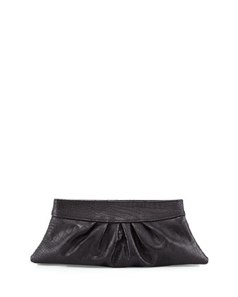 Louise Croc-Embossed Clutch Bag, Black